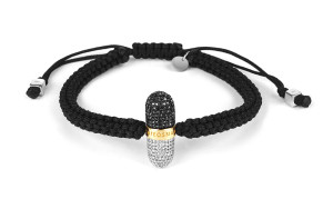 PILL-XXV Diamond Plus Black and White Macrame Bracelet