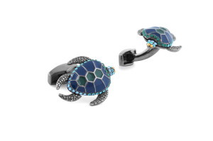 RT Gunmetal Plated and Blue Turtle Cufflinks