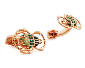 RT Rose Gold and Green Beetle Cufflinks