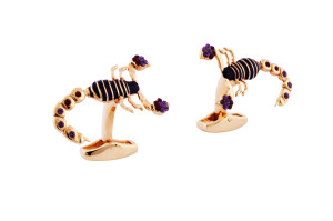 RT Scorpion Rose Gold and Brown Cufflinks