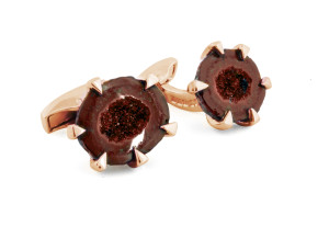 Tateossian Geode Rust and Rose Gold Plated Cufflinks