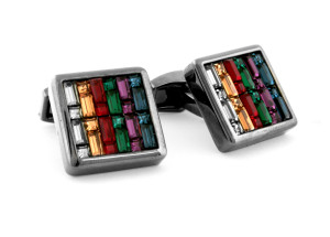 Tetirs Gunmetal and Swarovski Crystal Cufflinks