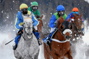 ST. MORITZ, 15FEB15 - Impression vom 'World Snow Hurdle Championship Final', einem Huerdenrennen ueber 2700 m, anlaesslich des 2. Renntages von White Turf in St. Moritz am 15. Februar 2015.  Impression of the White Turf St. Moritz, the famous international horse races take place on the frozen lake of St. Moritz, Switzerland, February 15, 2015.   swiss-image.ch/Photo Andy Mettler