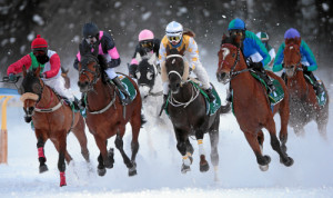 ST. MORITZ, 8FEB15 - Impression vom 'H.H. Sheikh Zayed bin Sultan al Nahyan Listed Cup', einem Flachrennen ueber 1600 m, anlaesslich des 1. Renntages von White Turf in St. Moritz am 8. Februar 2015.  Impression of the White Turf St. Moritz, the famous international horse races take place on the frozen lake of St. Moritz, Switzerland, February 8, 2015.  swiss-image.ch/Photo Andy Mettler