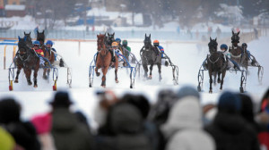 ST. MORITZ, 8FEB15 - Impression vom 'GP Blasto', einem Trabrennen ueber 1700 m, anlaesslich des 1. Rennsonntages von White Turf in St. Moritz am 8. Februar 2015.  Impression of the White Turf St. Moritz, the famous international horse races take place on the frozen lake of St. Moritz, Switzerland, February 8, 2015.  swiss-image.ch/Photo Andy Mettler