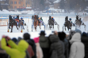 ST. MORITZ, 8FEB15 - Impression vom 'GP Blasto', einem Trabrennen ueber 1700 m, anlaesslich des 1. Renntages von White Turf in St. Moritz am 8. Februar 2015.  Impression of the White Turf St. Moritz, the famous international horse races take place on the frozen lake of St. Moritz, Switzerland, February 8, 2015.  swiss-image.ch/Photo Andy Mettler