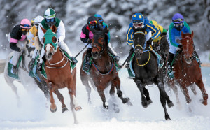 ST. MORITZ, 22FEB15 - Hohes Tempo im 'H.H. Sheikha Fatima Bint Mubarak Ladies World Championship (IFAHR)', einem Flachrennen ueber 1600 m, anlaesslich des 3. Renntages von White Turf in St. Moritz am 22. Februar 2015.  Impression of the White Turf St. Moritz, the famous international horse races take place on the frozen lake of St. Moritz, Switzerland, February 22, 2015.  swiss-image.ch/Photo Andy Mettler