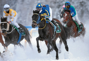 ST. MORITZ, 22FEB15 - Impression vom 'H.H. Sheikha Fatima Bint Mubarak Ladies World Championship (IFAHR)', einem Flachrennen ueber 1600 m, anlaesslich des 3. Renntages von White Turf in St. Moritz am 22. Februar 2015.  Impression of the White Turf St. Moritz, the famous international horse races take place on the frozen lake of St. Moritz, Switzerland, February 22, 2015.  swiss-image.ch/Photo Andy Mettler