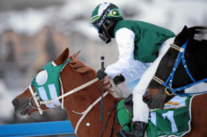 ST. MORITZ, 22FEB15 - Choumouk Qardabiyah mit Rebecca Danz im 'H.H. Sheikha Fatima Bint Mubarak Ladies World Championship (IFAHR)', einem Flachrennen ueber 1600 m, anlaesslich des 3. Renntages von White Turf in St. Moritz am 22. Februar 2015.  Impression of the White Turf St. Moritz, the famous international horse races take place on the frozen lake of St. Moritz, Switzerland, February 22, 2015.  swiss-image.ch/Photo Andy Mettler *** Local Caption ***