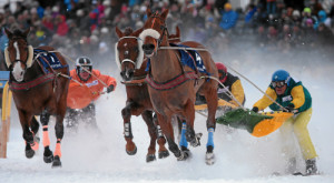 ST. MORITZ, 22FEB15 - (VLNR) Decorum mit Leta Joos, Acteur de l'Ecu mit Erich Bottlang und Dreamspeed mit Franco Moro im 'Grand Prix Credit Suisse', einem Skikjoering Rennen ueber 2700 m, anlaesslich des 3. Renntages von White Turf in St. Moritz am 22. Februar 2015.  Impression of the White Turf St. Moritz, the famous international horse races take place on the frozen lake of St. Moritz, Switzerland, February 22, 2015.  swiss-image.ch/Photo Andy Mettler