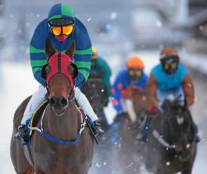 ST. MORITZ, 22FEB15 - Duchess Andorra (L) mit Colin Keane fuehrt im 'Grand Prix Schlossatelier', einem Flachrennen ueber 1600 m, anlaesslich des 3. Renntages von White Turf in St. Moritz am 22. Februar 2015. Impression of the White Turf St. Moritz, the famous international horse races take place on the frozen lake of St. Moritz, Switzerland, February 22, 2015. swiss-image.ch/Photo Andy Mettler
