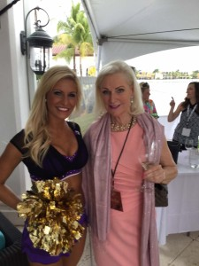 A cheerleader from the Baltimore Ravens with Jantiena Fieyra