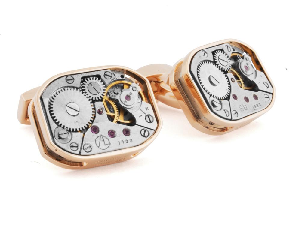 RT Rectangular Mechanical Rose Gold Cufflinks