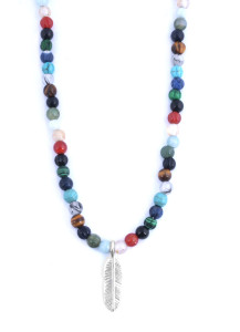 Tateossian Bali Multicolor and Silver Feather Beads