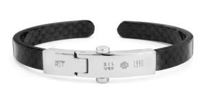 Tateossian Carbon Black Silver Bracelet
