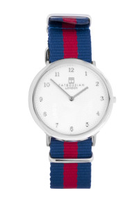 Tateossian Regatta Guilloche Navy and Red Watch
