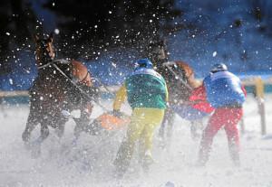 ST. MORITZ, 21FEB16 - Mombasa mit Adrian von Gunten (R) und Dreamspeed mit Franco Moro liefern sich ein hartes Rennen beim 'Grand Prix CREDIT SUISSE', dem Skikjoering am dritten Renntag des White Turf in St. Moritz am 21. Februar 2016.Impression of the White Turf St. Moritz, the famous international horse races on the frozen lake of St. Moritz, Switzerland, February 21, 2016. swiss-image.ch/Photo Andy Mettler